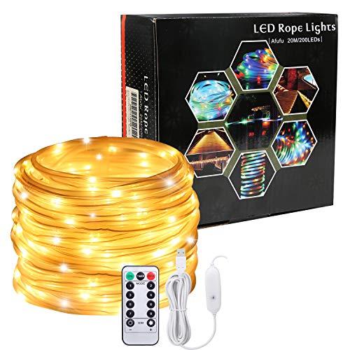 Afufu LED Luz Guirnalda Exterior USB 20M con 200leds, Mangueras Luces Led blanco cálido, Cadena de Luces Led, Temporizador, Resistente al agua, para jardín, casa, terraza, navidad etc
