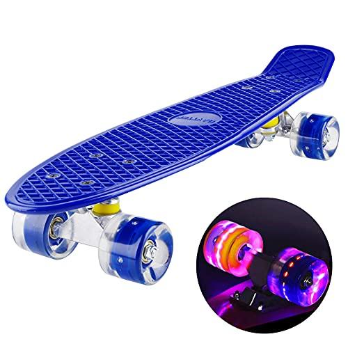 Baytter 22 Zoll Skateboard Komplett Board Mini-Cruiser aus 7-lagigem Ahornholz 57 x 15cm für Kinder, Jugendliche und Erwachsene mit ABEC-11 Kugellager und 95A Rollenhärte, 8 Farben wählbar (Blau)