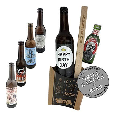 Geschenkset 4-TLG. Bier zum auswählen und Grillzange mit Gravur zum auswählen/Geburtstagsgeschenk/kreatives Geschenk/Männer/Grillen, Bier:Happy Birthday, Grillzange:Jürgen