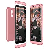CE-Link Funda Huawei Mate 10 Lite Carcasa Fundas para Huawei Mate 10 Lite 360 Grados 3 en 1 Desmontable Ultra-Delgado Anti-Arañazos Case Protectora - Oro Rosa