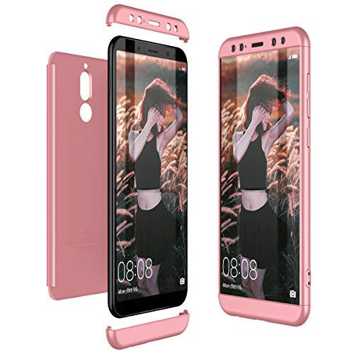 CE-Link Cover Huawei Mate 10 Lite 360 Gradi Full Body Protezione Custodia Huawei Mate 10 Lite Silicone Rigida Snap On Struttura 3 in 1 Antishock e Antiurto Case AntiGraffio Molto Elegante - Oro Rosa