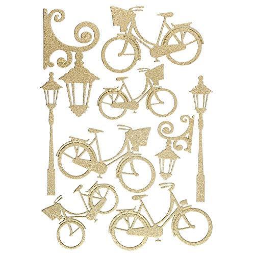 Ideen mit Herz 3-D Sticker Deluxe | Zur Hochzeit, Verschiedene Hochzeitsmotive | Erhabene Aufkleber | Bogengröße: 21 x 30 cm (Fahrräder & Laternen | Gold)