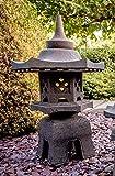IDYL Lavastein Stein Laterne Yukimi Gata | Höhe 90cm | frostfest | Asiatische Garten-Dekoration | massives Naturprodukt | Handarbeit | Wintergarten | schwarz