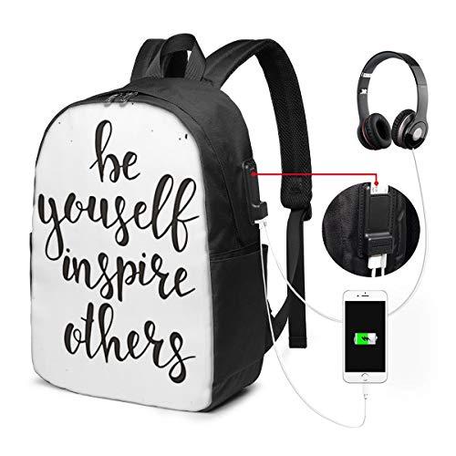 WEQDUJG Mochila Portatil 17 Pulgadas Mochila Hombre Mujer con Puerto USB, Sé tú Mismo inspira a Otros Mochila para El Laptop para Ordenador del Trabajo Viaje