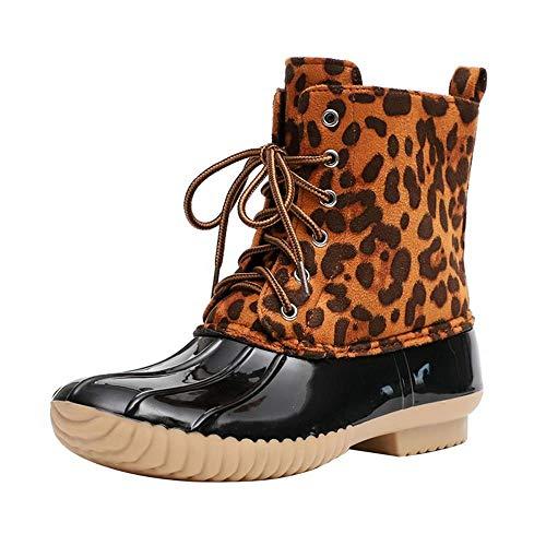 Tasty Life Botas De Nieve Impermeables De Alta Protección, Botines Sexys para Mujer, Botas De Agua para Mujer, Botas De Caballero, Botas De Nieve, Botas De Algodón Cálido para Damas.(37,Leopard)