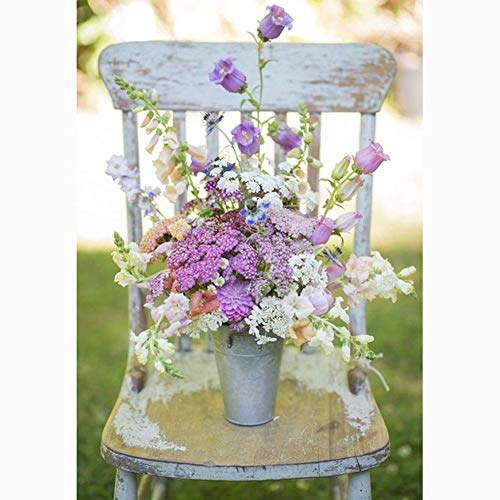 DIY 5D Diamond Painting by Number Kits for Adult,Full Round Drill Embroidery Cross Stitch Arts Craft Wall Decor Flowers on a Stool 11.8x15.7in Pack by Cenda