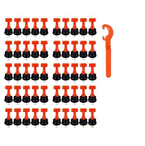 Fliesen Nivelliersystem, 50 Stück Fliesenausgleichssystem Fliesen Leveler Bau von Wänden Böden Kunststoff Clip Wiederverwendbar Kit Verstellbar Locator Spacer Zange Level Wedge Handwerkzeug