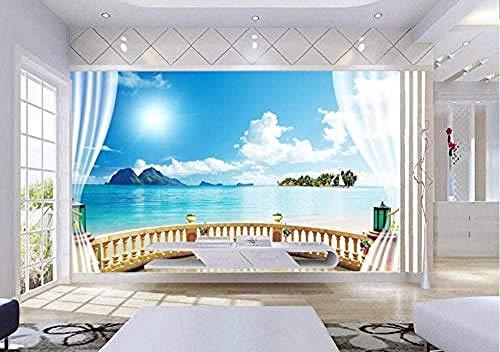 ZZXIAO Papel tapiz fotográfico estereoscópico 3D Paisaje de ventana para S Paisaje exterior Ladrillo Mural de pared de sal Decoración Fotomural sala Pared Pintado Papel tapiz no tejido-430cm×300cm