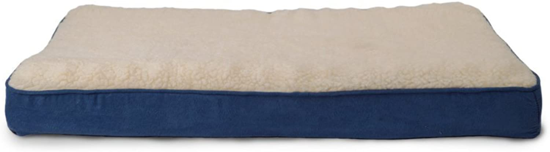 Furhaven Pet Small Navy Sheepskin & Suede Memory Foam Pet Bed