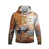 Suéter 3D Pullover Casual Suelto Deportivo Sudadera con Capucha De Manga Larga Elk Animal-Print Sudadera 3D Chaqueta Chándal Abrigos De Calle