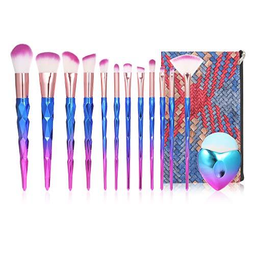 Anself Pinceaux de Maquillage Colorées, 13pcs Cosmétique Pinceaux Kit,pour Fond De Teint/Mélange Poudre pour Le Visage Blush/Concealers/Ombres à Paupières,avec un sac à Cosmétiques étanche