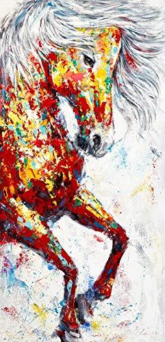 Geiqianjiumai Modern dierolieverfschilderij affiche en drukwandkunst op frameloze schilderij van de linnensamenstelling kleurrijk paard