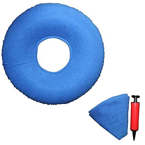 MEISHANG Sitzring Hämorrhoiden Steißbein Sitzring aufblasbar Orthopädisch Sitzkissen mit Pumpe Härte einstellbar für Steißbein Dekubitus Rollstühle (Blau)