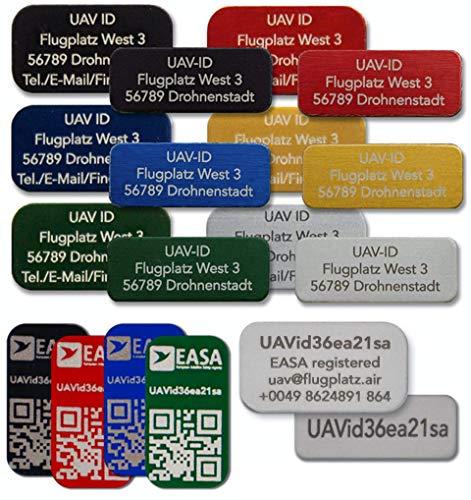 UAV-ID - Drohnen-Kennzeichen, 3 Zeilen, 20x8mm, Namensschild und/oder e-ID für Quadrocopter, Aluminium eloxiert