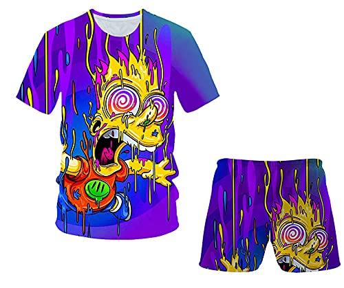 Aatensou Juego de camiseta y pantalones cortos para niños de The Simpsons con diseño de anime en...