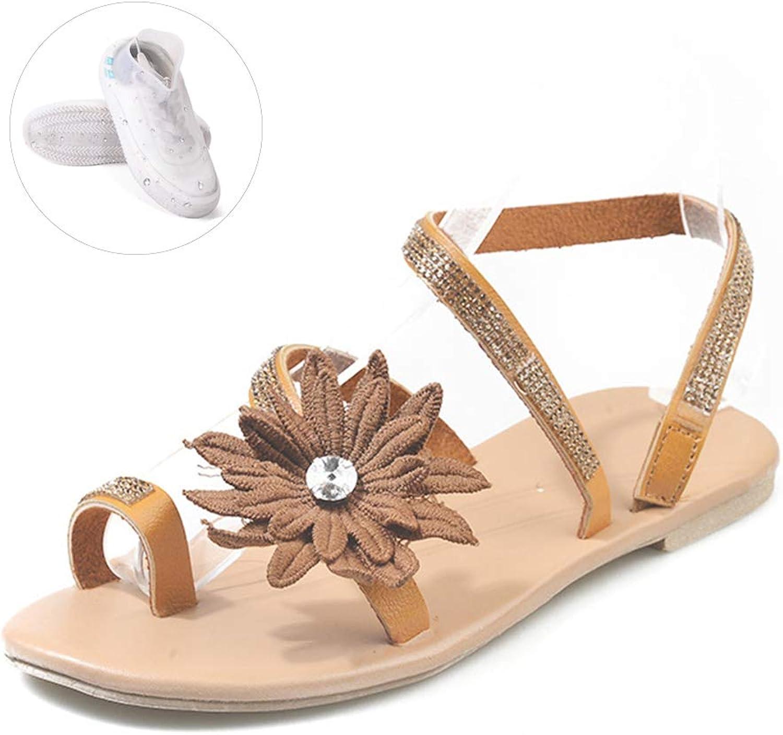 Women Sandals Summer Beach Sandals Flip Flops Bohemian, Women shoes Fashion Flat Sandals, with shoes Cover,Brown,6.5US