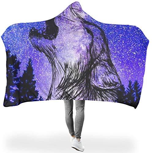 NeiBangM Galaxy Wolf Soft Warm Flanell Fleecedecke Sofadecke/Überwurfdecke White 130x150cm