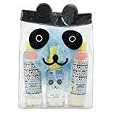 Charming Charlie Bath and Tote Bag Gift Set - Panda-Themed Organza Travel Bag, Body Care Essentials - Pack of 4, Blue