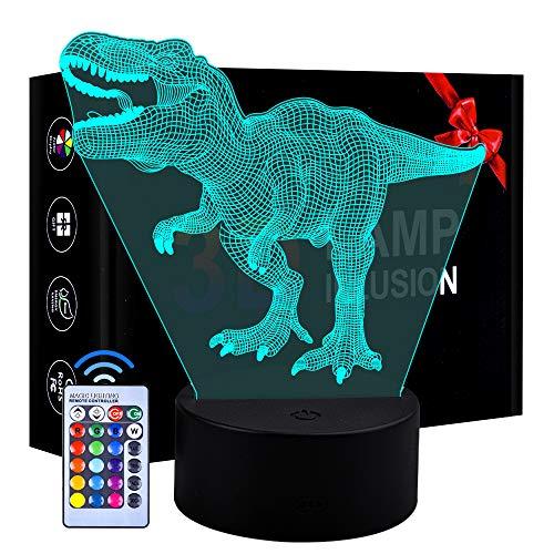 Juguetes para niños de 5 años, Dinosaurio Luz Nocturna Regalos para niños Niñas 3-9 años Niños pequeños Lámpara Regulable 3D LED Luz Nocturna Juguetes para niños Niños Presentes Edad 4 5 6 7 8
