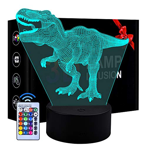 Eala Toys for 5 Year Old Boys, Dinosaur Night Light Birthday Gifts for Kids Girls Age 3-9 Toddlers Dimmable 3D LED Lamp Nightlight Toys for Boys Children Present Age 4 5 6 7 8