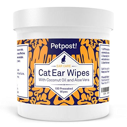 Petpost | Toallitas Limpiadoras de Oído para Gatos – 100 Almohadillas de Algodón Ultra Suave en Solución de Aceite de Coco – Tratamiento para Garrapatas de Oído de Gatos e Infecciones Auditivas