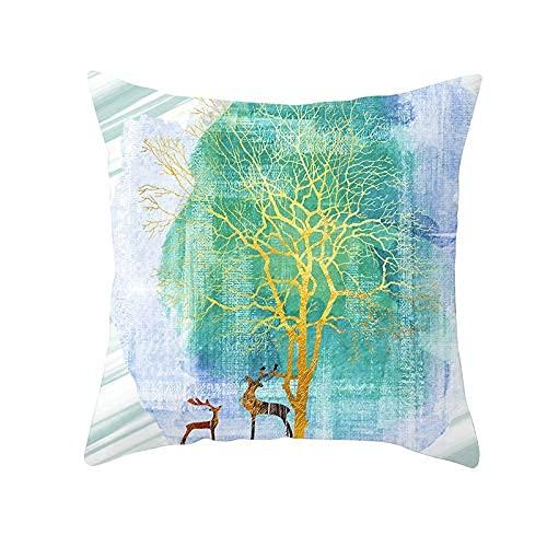 QXXKJDS Funda Cojines Fundas de cojín Colorful Deer Tree Square Suave Terciopelo Decoración de Doble Cara Funda de Almohada con Cremallera Invisible para sofá Sala de Estar Sofá Coche Cama Deco