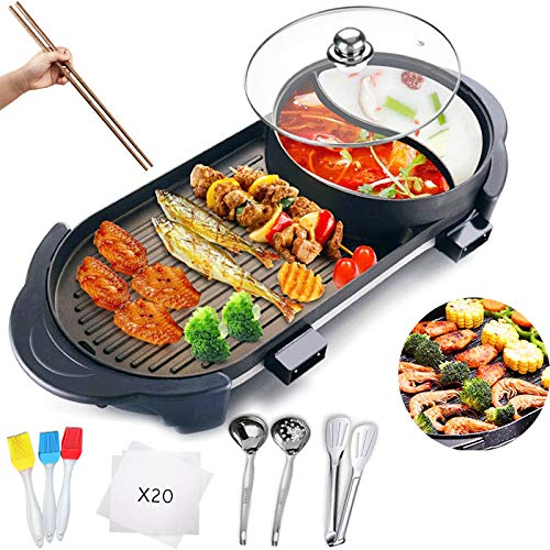 Electric Grill with Hot Pot 2 in 1 Indoor Korean BBQ Grill and Shabu Shabu Pot with Divider 2200W Separate Dual Temperature Control, 27Pcs BBQ Accessories Gift Set, Capacity for 2-8 People, 110V