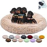 Yurun hundebett XXL, Rundes Hundesofa Haustier Nest Hundekörbchen waschbar, mit Weichen Plüsche, mit Schwamm-rutschfestem Boden, für besseren Schlaf (Creme Farben, 100CM)