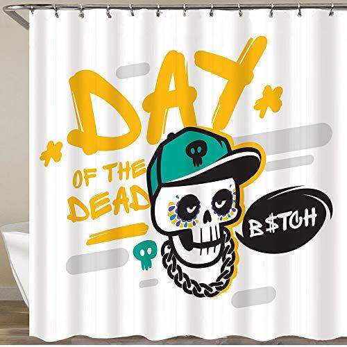 KGSPK Cortinas de Ducha,Dia De Muertos - Mexican Day of The Dead P Sugar Skull,Impermeable Cortinas Baño y Lavables Cortinas Bañera 180x180CM