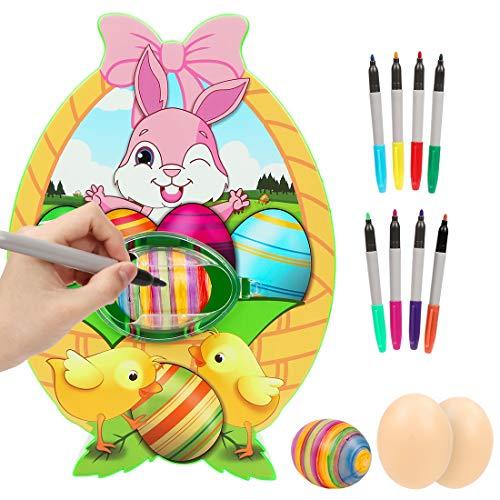 Wishstar Decoratore di Uova di Pasqua, Macchina per Decorare Uova con Spinner, Inclusi Pennarelli di 8 Colori, Regali Fai da Te per Bambini per Pasqua e Happy Children Day
