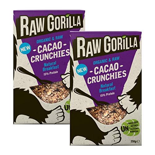 Raw Gorilla Vegan & Organic Breakfast Cereal | Gluten-Free | No Artificial Sugar (Cacao Crunchies, Pack of 2)