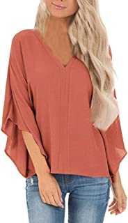 Ladies Solid Color Loose V-Neck Half Sleeve T-Shirt SADUORHAPPY Women Sexy Deep V-Neck Ruffle Sleeve T-Shirt Blouse Tops