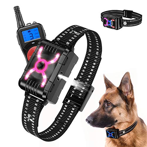 Queenmew Stop Dog Bark, Anti Barking Dog Collar Stop Barking Automatic Citronella Spray Dog Barking Deterrent Device, Rechargeable Bark Stopper Anti-Barking Dog Training Collar Dogs