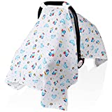 Lightweight Car Seat Covers for Babies, Muslin Infant Carseat Canopy, Breathable Baby Carrier/Stroller Cover, Newborn Boy Girl Shower Gifts, Universal Fit Large Size 47.2 x 35.4 inch, Toy Car