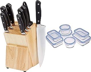 Amazon Basics Bloc de couteaux 9 pièces & Récipients en Verre avec clips de Fermeture pour Conservation Alimentaire, Lot d...