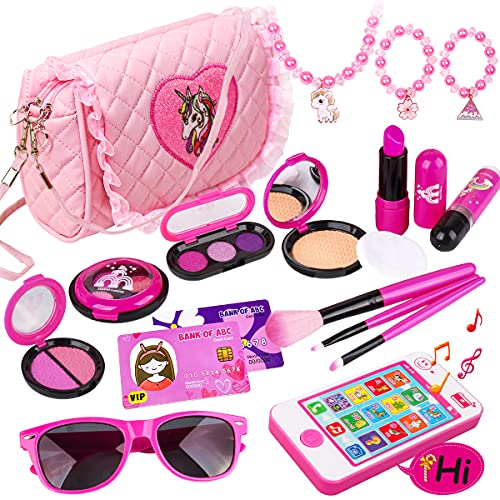Meland Kids Makeup Kit - Girl Pretend Play Makeup & My First Purse Toy for Toddler Gifts with Pink Princess Purse, Smartphone, Sunglasses, Credit Card, Lipstick,Brush,Lights Up & Make Real Life Sounds
