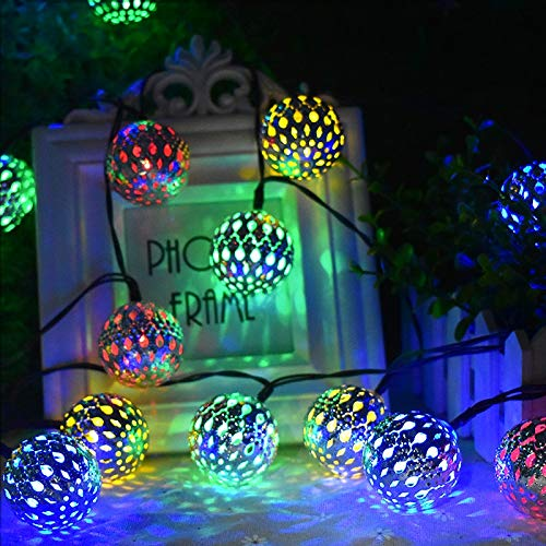 OUPPENG 10/20 LED Moroccan Ball Solar String Lights Fairy Globe Waterproof Lantern Light Decorative Lighting for Home Garden Party Decor (Emitting Color : Blue)