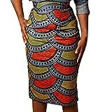 Tonwalk Jupe Package Hanche, Femme Impression Jupe Moulante Taille Haute (XL, Multicolore)