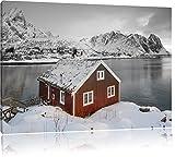 Fischerhaus an den Lofoten Inseln B&W Detail, Format: