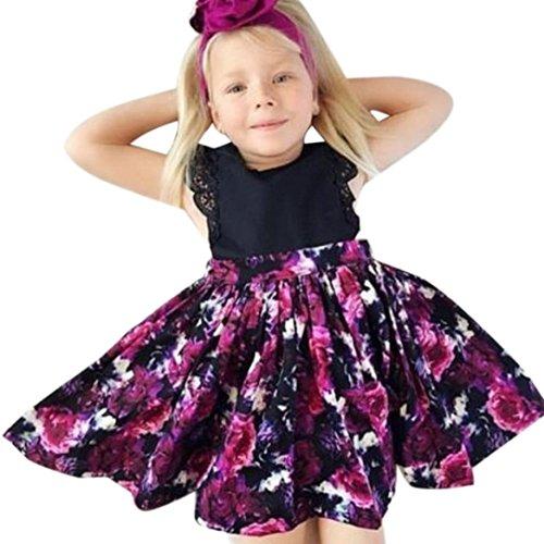 Robe de Bébé de Fille pour 2-6 Ans, LuckyGirls Vetement Bébé Fille Ete Ensemble Bébé Filles Enfants Coton Robes sans Manches Floral + Bandeau (Âge: 4 Ans, Noir)