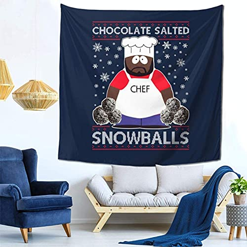 South Park Chocolade Gezouten Sneeuwballen Kerst Brei Patroon Muur Opknoping Wandtapijt voor Woonkamer en Slaapkamer Spreads Goede Vibes 59×59 Inches