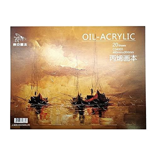 Hmg Professional Oil Painting Paper Book 20 Hojas Acrílico Pintura al óleo Pintura Creativa Lienzo 8k 460x350mm