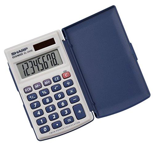 Sharp Electronics 8-Digit Twin Powered Calculator (EL-243S/EL-243SB) 5/Pack (Renewed)