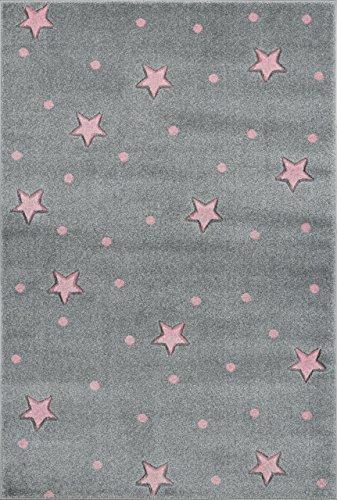 Livone Tapis pour Chambre denfant Motif /étoiles /à Pois Cr/ème//Rose Ivoire 100 x 150 cm