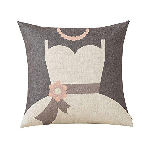 Uus Canapé de Mariage Coussin Rouge Double Happiness Words Oreiller Bureau par taie d'oreiller Coton Coussin d'ameublement en Lin 43 € 43cm (Couleur : A, Edition : Cushion(Down Filling))
