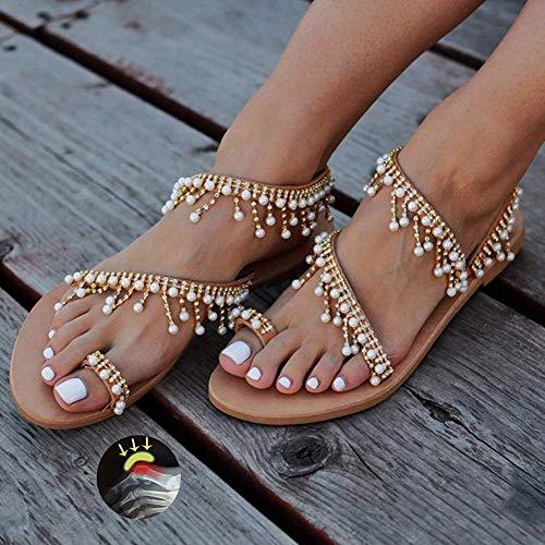 W&TT Mujeres con Cuentas Sandalias Planas Bohemia Vintage Toe Ring Gladiator Zapatos Romanos Clip de Mujer Flip Flop Joya Perla Beach Zapatos,A,38