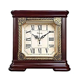 Beesealy Table Clock, 9-Inch Square Mantel Clock, Roman Numerals, Retro Style, Fireplace Decoration Suitable for Living Room, Office