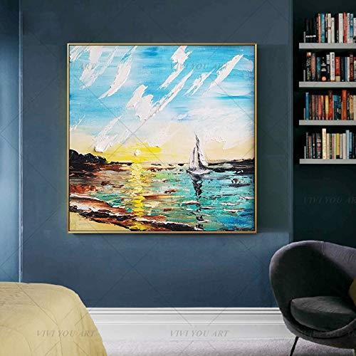 wZUN Hacer Color Barco Paisaje Marino Pintura de Pared Pintura al óleo Abstracta Hermosa decoración del hogar Imagen en Lienzo 60x60 Sin Marco