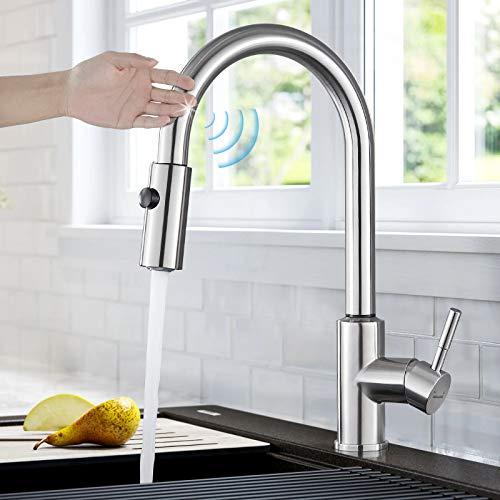 BONADE Touch Sensor Wasserhahn Küche Ausziehbar mit 2 Strahlarten 360° Drehbar Küchenarmatur Edelstahl Spültischarmatur Einhebelmischer Mischbatterie Gebürsteter Nickel