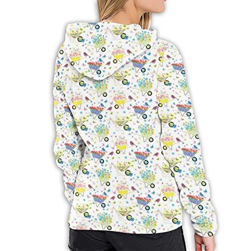 Women's Hoodies Sweatshirts,Rainbow Striped and Checkered Pattern Wheelbarrows Full of Wild Flowers and Birds XL